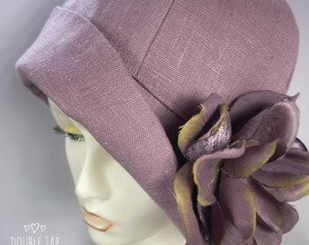 Cloche Hat,1920's Fashion,Mauve Cloche Hat,Great Gatsby Hat,Custom Hat,Ladies Cloche Hat,1920's Head Ware,Ladies Cloche Hat,1920's Hat,Linen