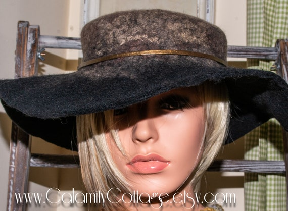 Wool Felt Black Hat Boho Safari  Western Floppy Hat 100% Merino Wool  Art Felted Hat