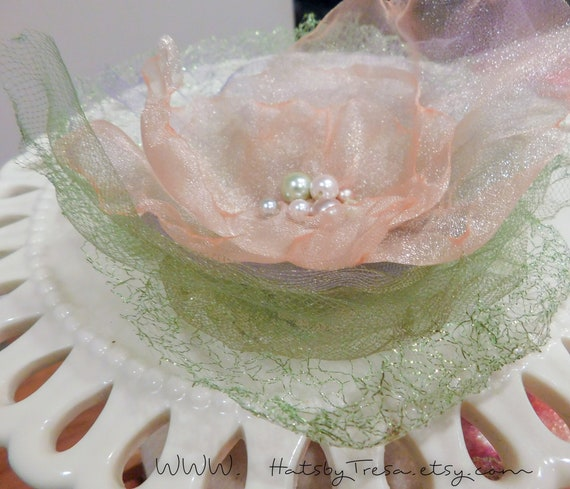 Organza Flower pin light Peach Bohemian sheer Flower with glass Pearls