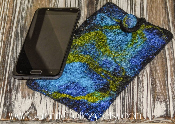 Cell Phone/Eye Glass Merino Felted Wool with Silks for design,handmade bohemian