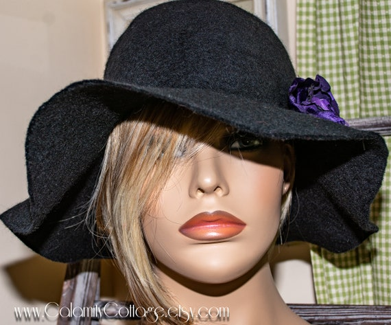 felt hat, large brim hat, womens black hat, large brim hat, floppy hat, wide brim hat, felted wool hat, warm hat, wool hat, felted wool hat