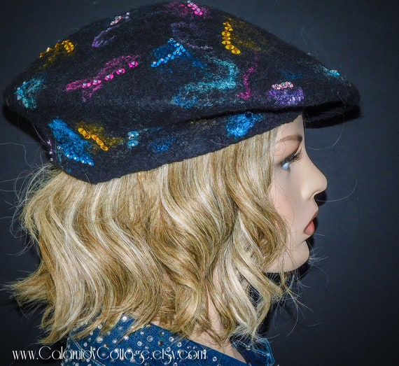 Beret,Wool Felted Hat, Bohemian, Embroidery,Slouchy Beret,Felted Wool Beret,Felt Beret,Handmade Beret, French Beret, Woman Beret, felted hat