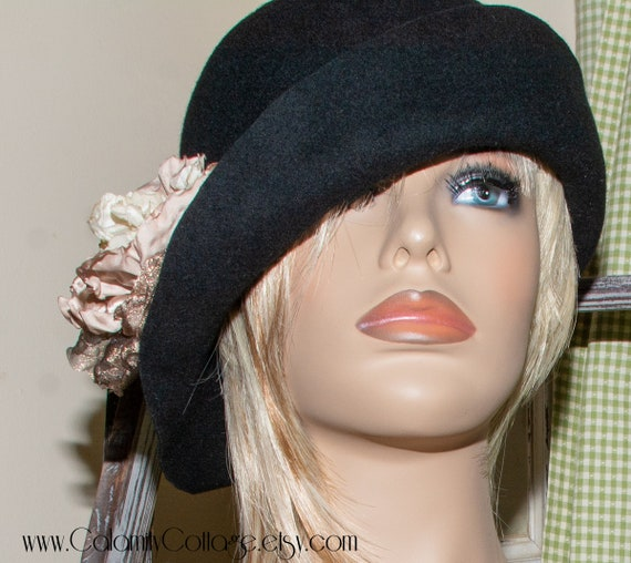 Black Hat, Cloche Hat,1920's Hat, Felted Hat, Felt Hat, Abbey Hats, Warm Hat, Woman Hat, Retro Hat, Wool Hat, Millinery Hat, Flapper Hat,