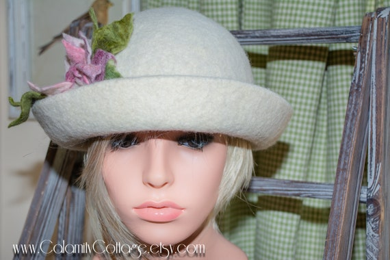 Derby/Bowler Felted  Hat, Winter White Wool Hand Made Felted Tea Rose