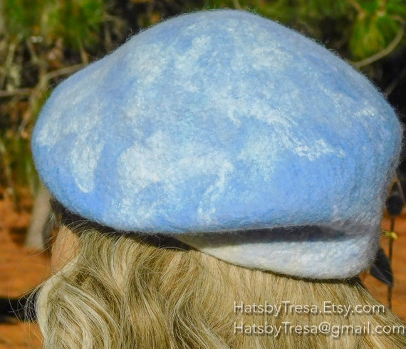 36b4fa31d82 Blue Merino Woo lFelted Beret with Silks for Design