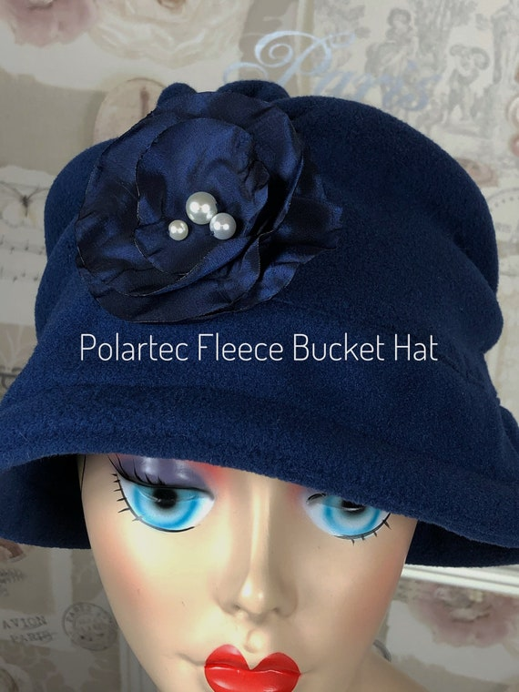 Navy Cloche Hat - NavyFleece Hat - Large Flower Hat - Navy Winter  Hat - Women Easter Hat - Women Cloche Hat - NavyBucket Hat - Bespoke Hat