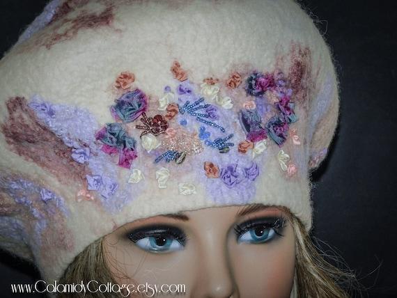 Beret,Wool Felted Hat, Bohemian,Silk Ribbon Embroidery,Slouchy Beret,Felted Wool Beret,Felt Beret,Handmade Beret, French Beret, Woman Beret