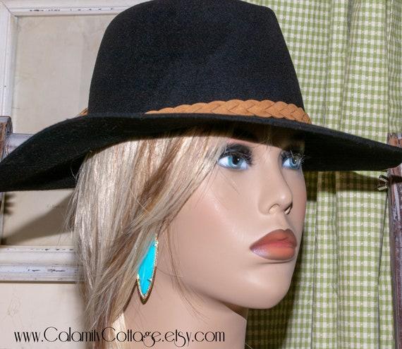 Fedora Hat Wool Hat Black Hat Felted Hat Bohemian handmade