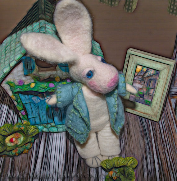 bunny rabbitl ,White Rabbit , felted animal, Hare ,Art Doll, Rabbit, White ,nursery decor ,Baby Shower Gift, Nursery, WoolRabbit ,
