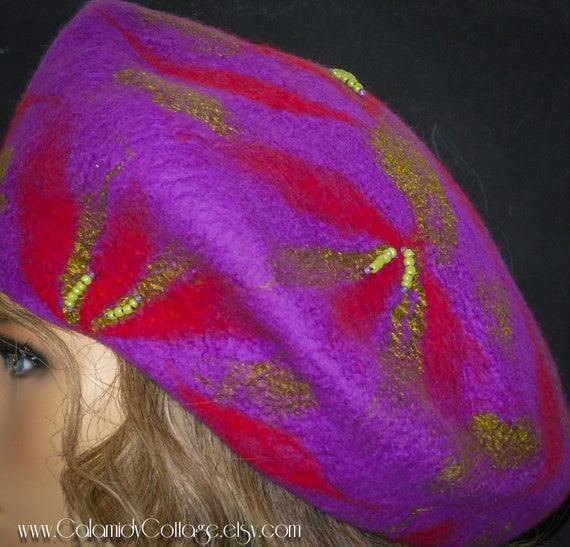 Beret,Wool Felted Hat, Bohemian,vintage hat ,Slouchy Beret,Felted Wool Beret,Felt Beret,Handmade Beret, French Beret, Woman Beret