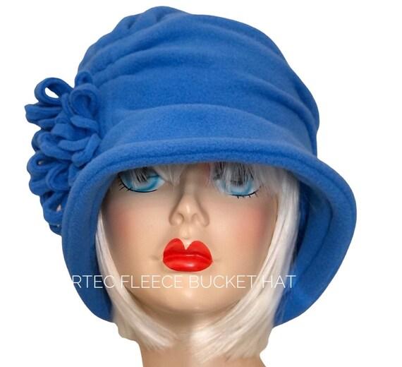 Blue Cloche Hat - Blue Fleece Hat - Cloche  Flower Hat -Blue Winter Hat -Women Fleece Hat - Women Cloche Hat - Blue Bucket Hat - Bespoke Hat