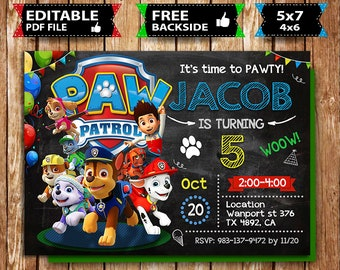 image regarding Printable Paw Patrol Birthday Invitations titled Paw patrol invite Etsy