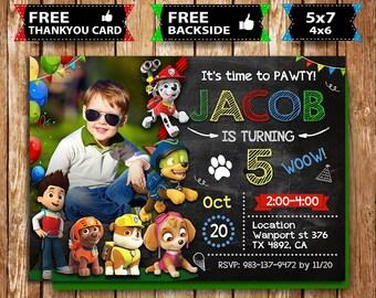 Paw Patrol Invitation Birthday Invite Party Printable Digital