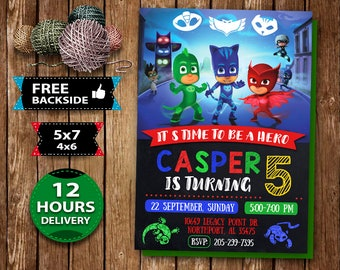 Pj Masks Invitation Invite Birthday Party Card Boy Printable