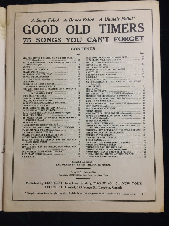 GOOD OLD TIMERS : Vintage Sheet Music 1922  Ephemera, songbook, music,  props, collecting, memorabilia, scrapbooking