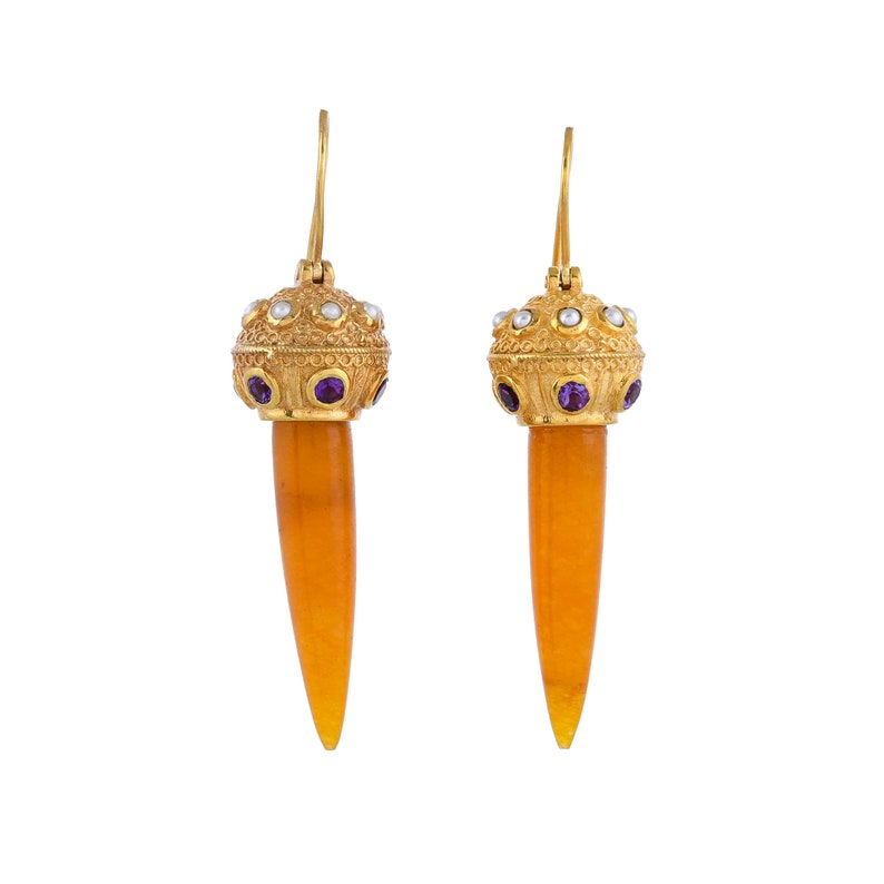 Amethyst,Pearl /& Onyx Vermeil 14K Gold Over Sterling Silver Earring