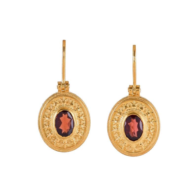 Garnet Vermeil 14K Gold Over Sterling Silver Earring