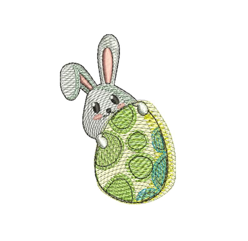 Machine embroidery design Embroidered Easter Bunny with egg image 0