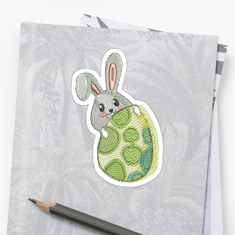 Embroidered Easter Bunny with egg image 0