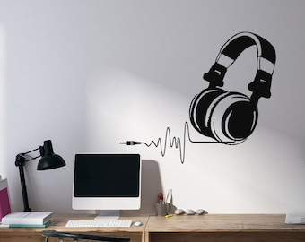 Headphone Wall Decal Music Lover Gift