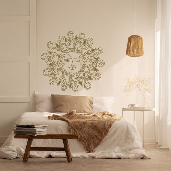 Moon And Sun Decal Bedroom Decor Ideas Sun And Moon Wall Etsy