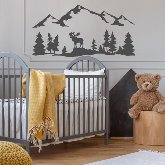 Woodland Decal Moose Family Wall Decal Kids Moon and Stars Wall Decor Blue Mountain Wall Decal Boy Room Pine Tree Forest Wall Mural