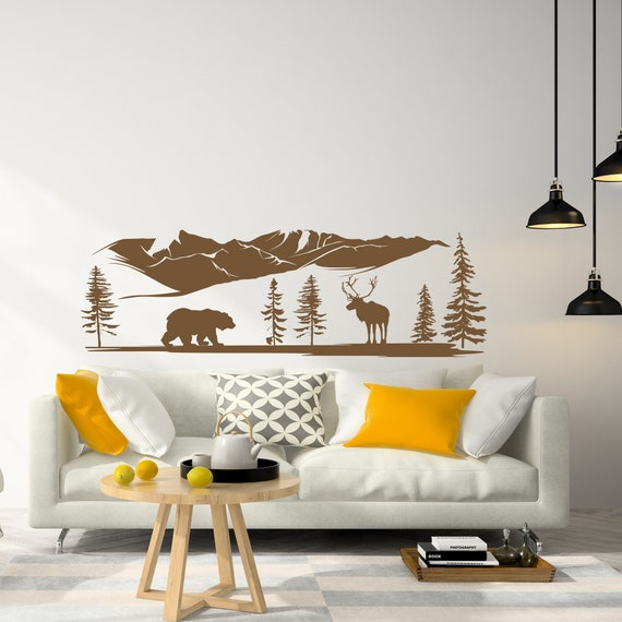 Bear Wall Stickers Woodland Animal Wall Decal Bear Wall Mural Pine Tree Wall Decal Woodland Nursery Themed Bedroom Decor NS2151