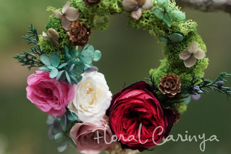 Green Preserved Rose  Flower Wreath