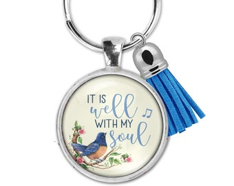 It is well with my soul - Necklace, keychain or set- Lovely watercolor flowers- Uplifting and encouraging gift.