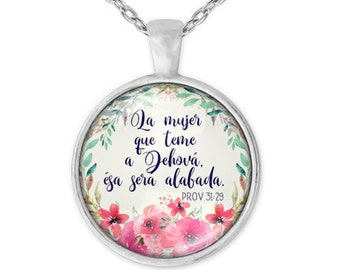 Spanish necklace for mothers day. Beautiful  watercolor flowers in glass pendant