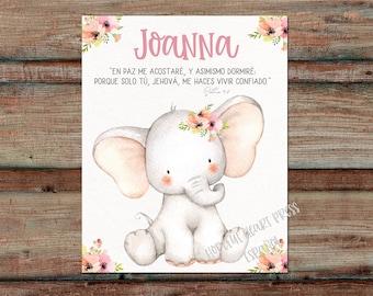 Personalized artwork with adorable elephant and Bible verse - Personaliza este cuadro con un elephante muy bonito y con un versiculo.