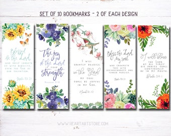 10 Bookmarks- Watercolor verse from the Bible - Encouraging and inspiring-