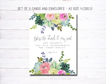 8 cards and envelopes - Watercolor verse from the Bible - Encouraging and inspiring- Bless the Lord o my soul. - Succulents and flowers