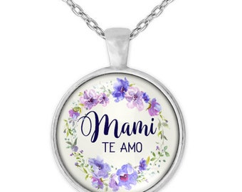 Mami, te amo - Spanish necklace for mothers day. Beautiful lavender watercolor flowers in glass pendant
