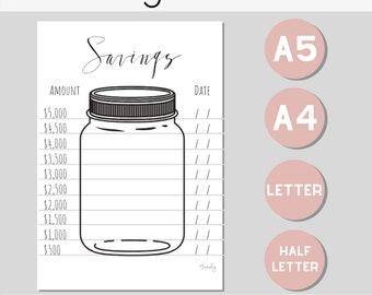 graphic regarding Savings Jar Printable identify Cost savings chart Etsy