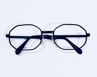 c5632d976b Vintage Safilo Italy Black Wire Rim Hexagon Eyeglasses