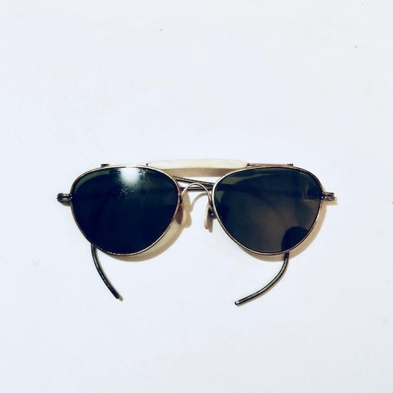 Vintage 80s Goldtone Aviator Shooting Sunglasses