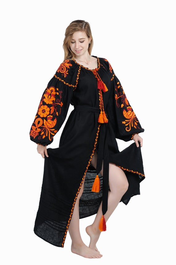 Ukrainian ethnic  dress with traditional embroidery Linen embroidered dress Firebird midi