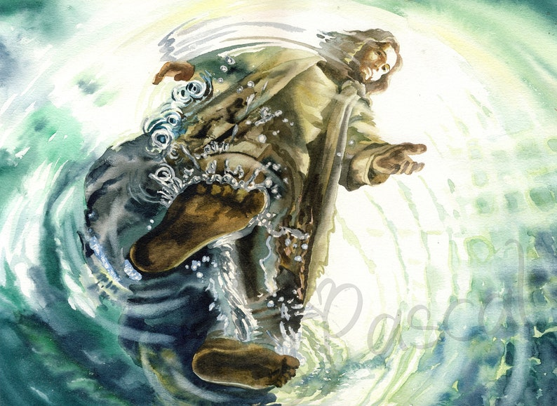 Watercolor Christ Walking on the Sea Jesus Walking on Water image 0