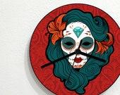 Sugarskull Calavera Catrina - Day Of The Dead - Dia De Los Muertos - Mexican Carnival Holiday - Novelty Gift - Custom Acrylic Wall Clock