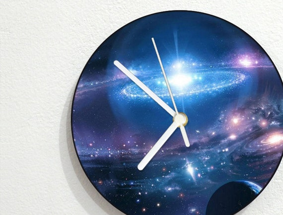 Wall Clock Stars Space Universe Galaxy Nebula Galactic Systems Planets