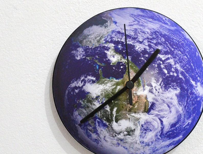 Global Earth - World Map Globe - Stellar Space Galaxy Solar Planet Sun Rays  - Universe Stars - Novelty Gift - Custom Name Acrylic Wall Clock