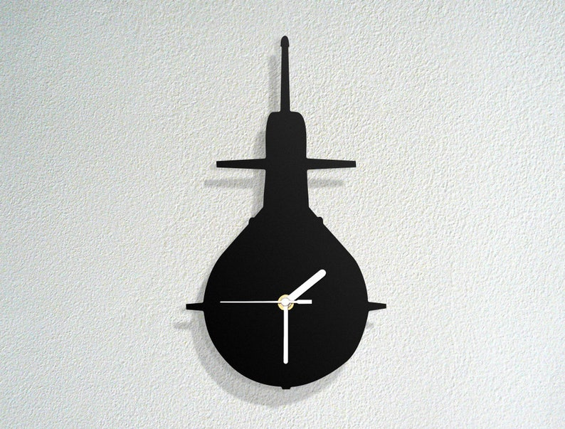 Submarine - Underwater Vehicle - Sonar Radar- Rocket Missiles Silhouette  Figure - Novelty Gift - Custom Acrylic Wood Wall Clock
