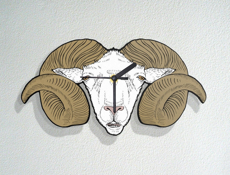 Goat Head with Horns - Domestic Sheep - Nature Wild Life Animal - Random  Art Color Design - Modern Novelty Gift - Custom Acrylic Wall Clock