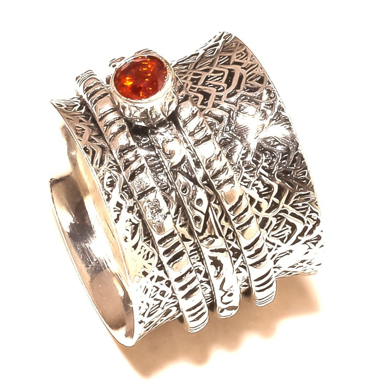 Garnet Faceted Gemstone 925 Solid Sterling Silver Spinner Ring Statement Ring New Item Handmade Jewelry All Size us sr254212