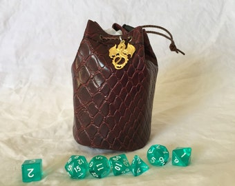 Red Medium Dragonhide drawstring dice bag - Dungeons and Dragons