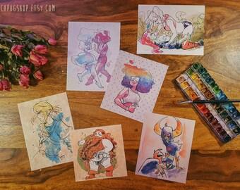 Simple Print set! Harley x Ivy, Zelda, Steven Universe, Wander Over Yonder, female dwarf,