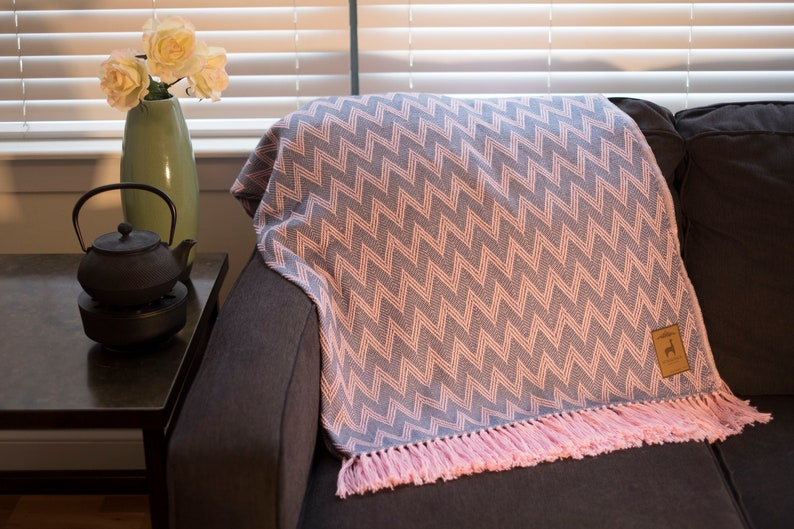 Baby Blue and Pink Local Alpaca Blend Throw Blanket