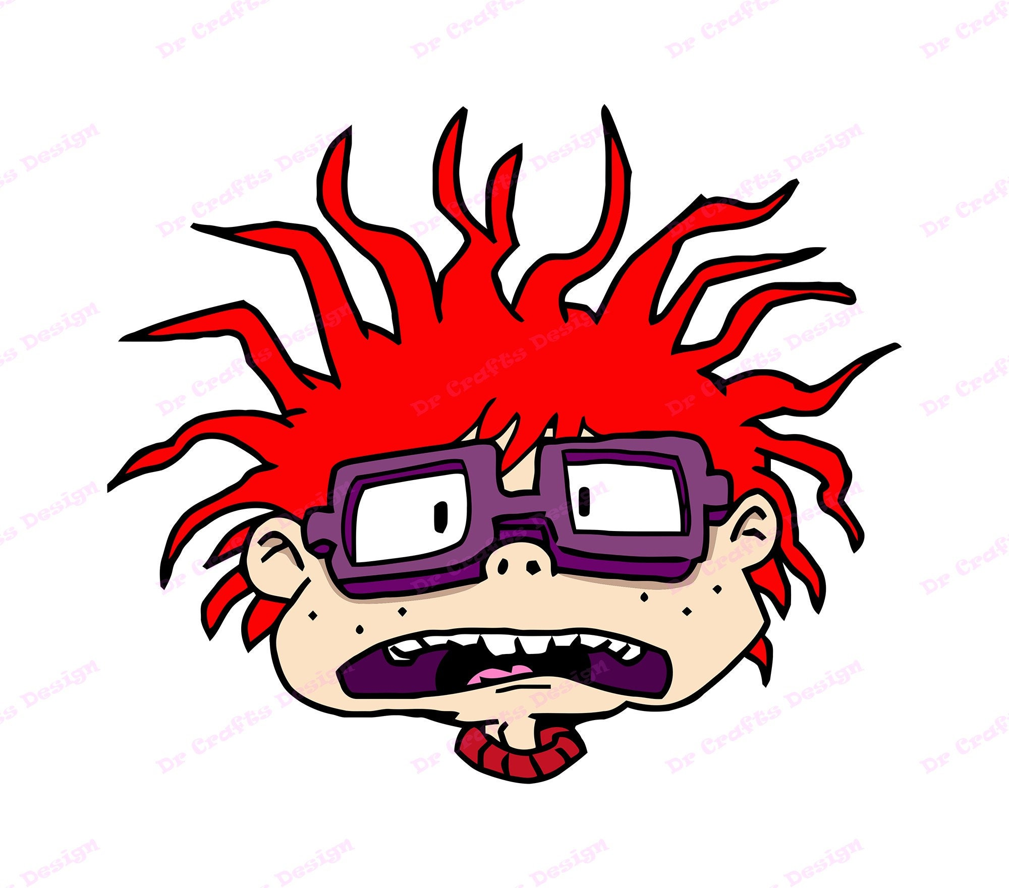 Filled 03 Embroidery Design Instant Download Many Formats and Sizes Embroidery Head Chuckie Finster Rugrats