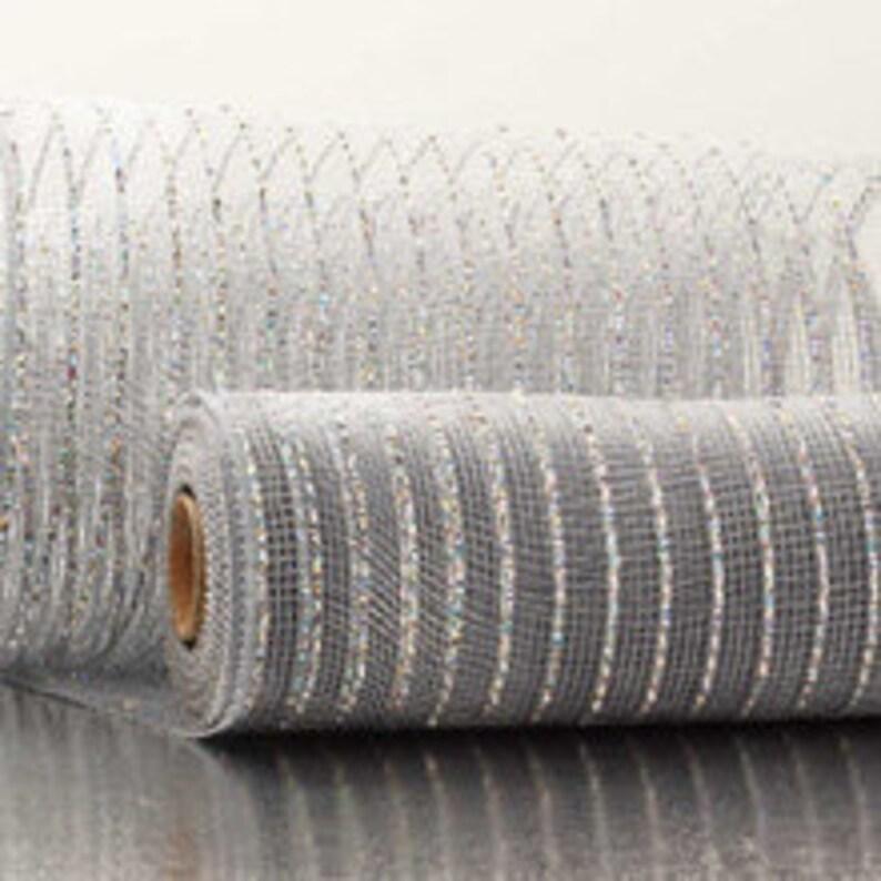 SilverCrystal Silver Thread Metallic 21 Deco Mesh